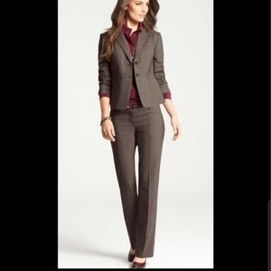 Ann Taylor Twwed Brown Pant Suit and Blazer 8